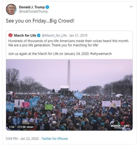 Donald Trump to speak at March for Life 2020