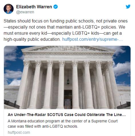 Elizabeth Warren will says Christian schools are her enemy