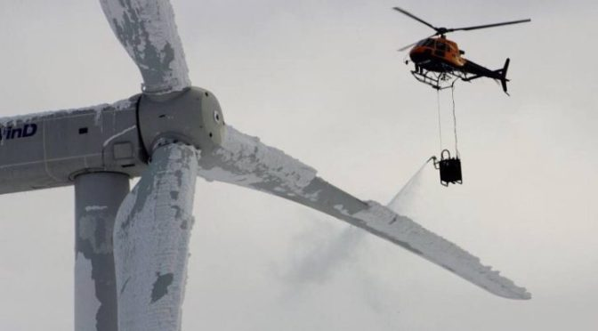 Environmentalists burning helicopter fuel to de-ice wind turbines one at a time