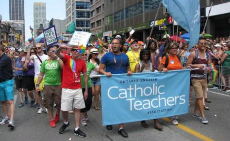 Catholic teachers march in favor of gay rights and perverted sex education