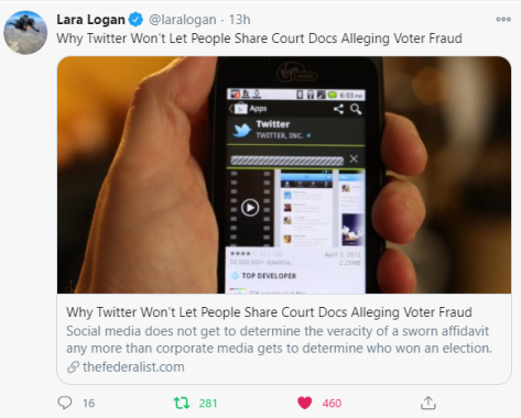 Twitter doesn't like people sharing sworn affidavits